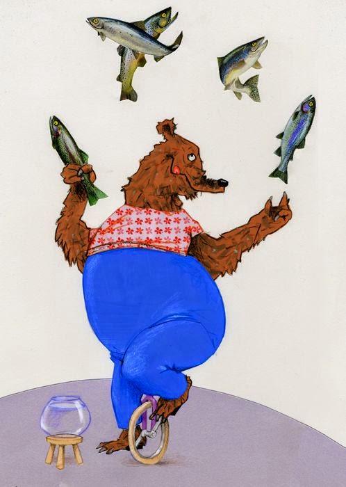 circus bear juggling salmon fish illustration by Robert Wagt