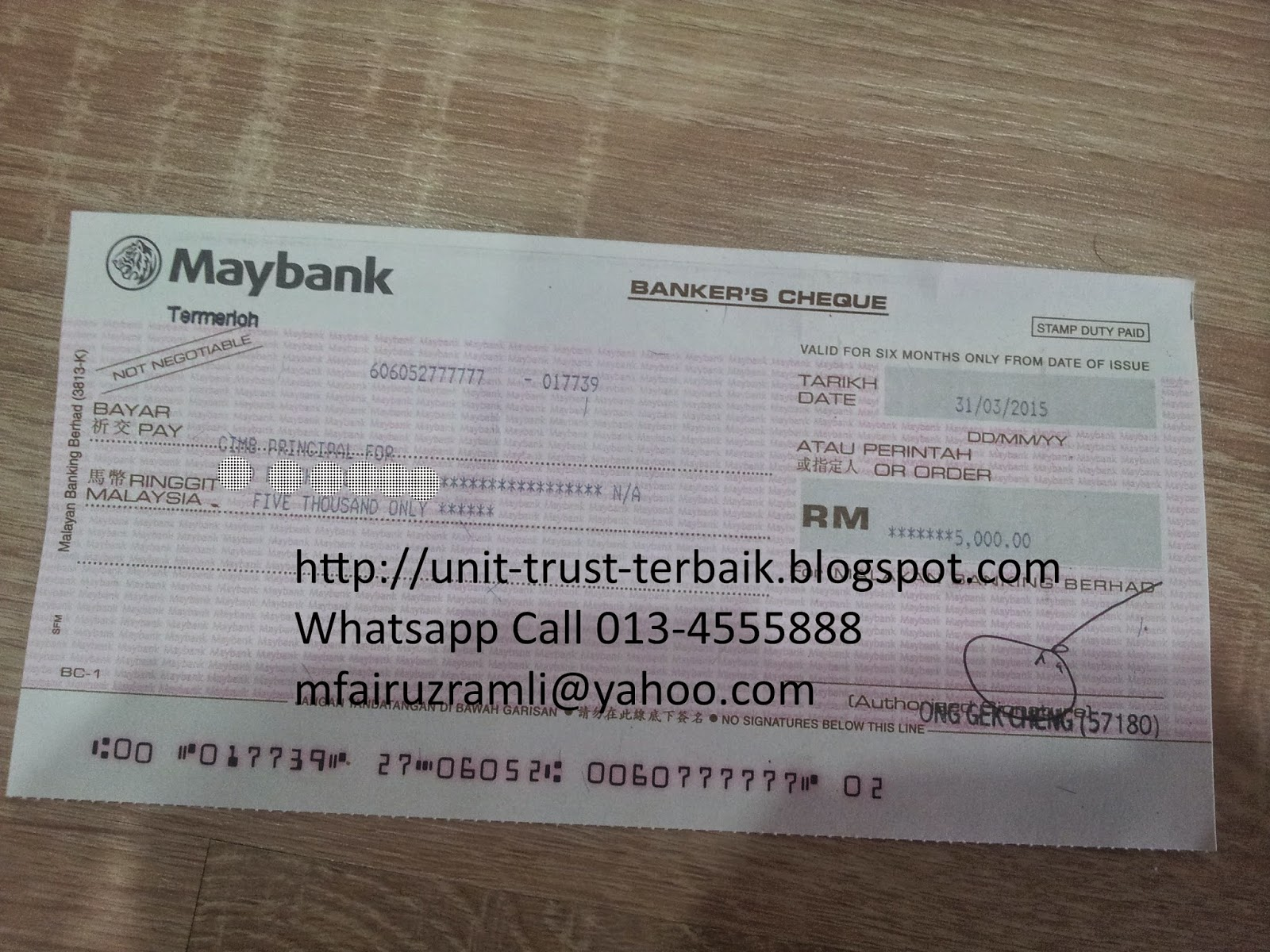 Pelaburan Cash Unit Trust RM5000 En Faiz