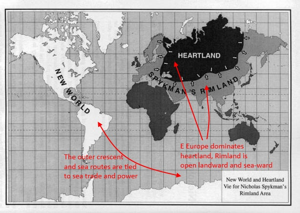mackinders heartland thesis The heartland represents central asia, russia, and eastern europe people from the heartland depended on their herds and horses to feed and defend their families these cultures developed differently than the cultures near the sea.
