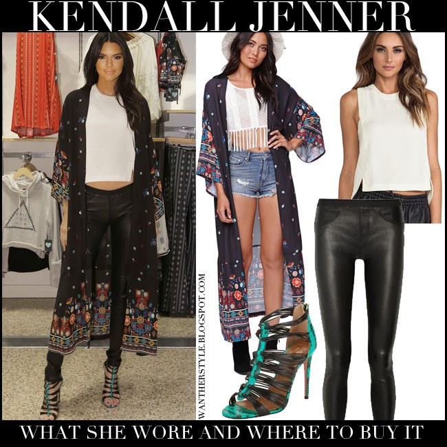Kendall Jenner in black printed long kimono, black crop top, black leather leggings with strappy sandals july 2014 want her style