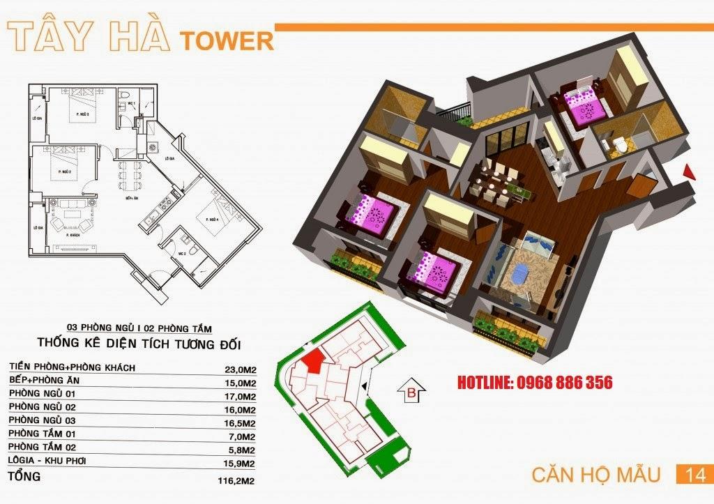 Căn hộ số 14 chung cư Tây Hà Tower
