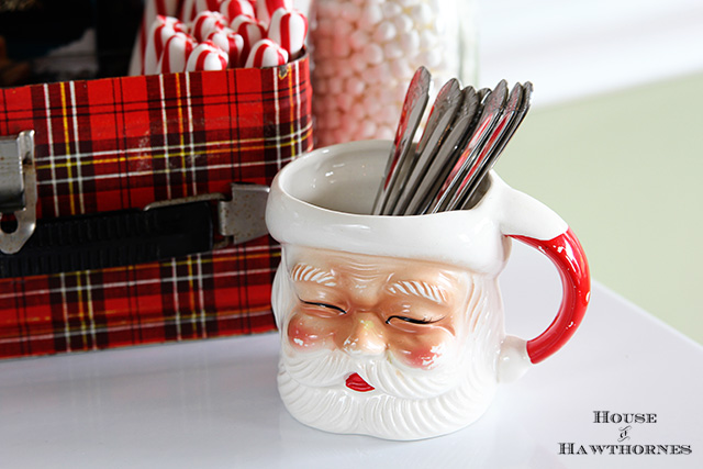 Vintage Santa head mug as part of a hot cocoa station for the holidays