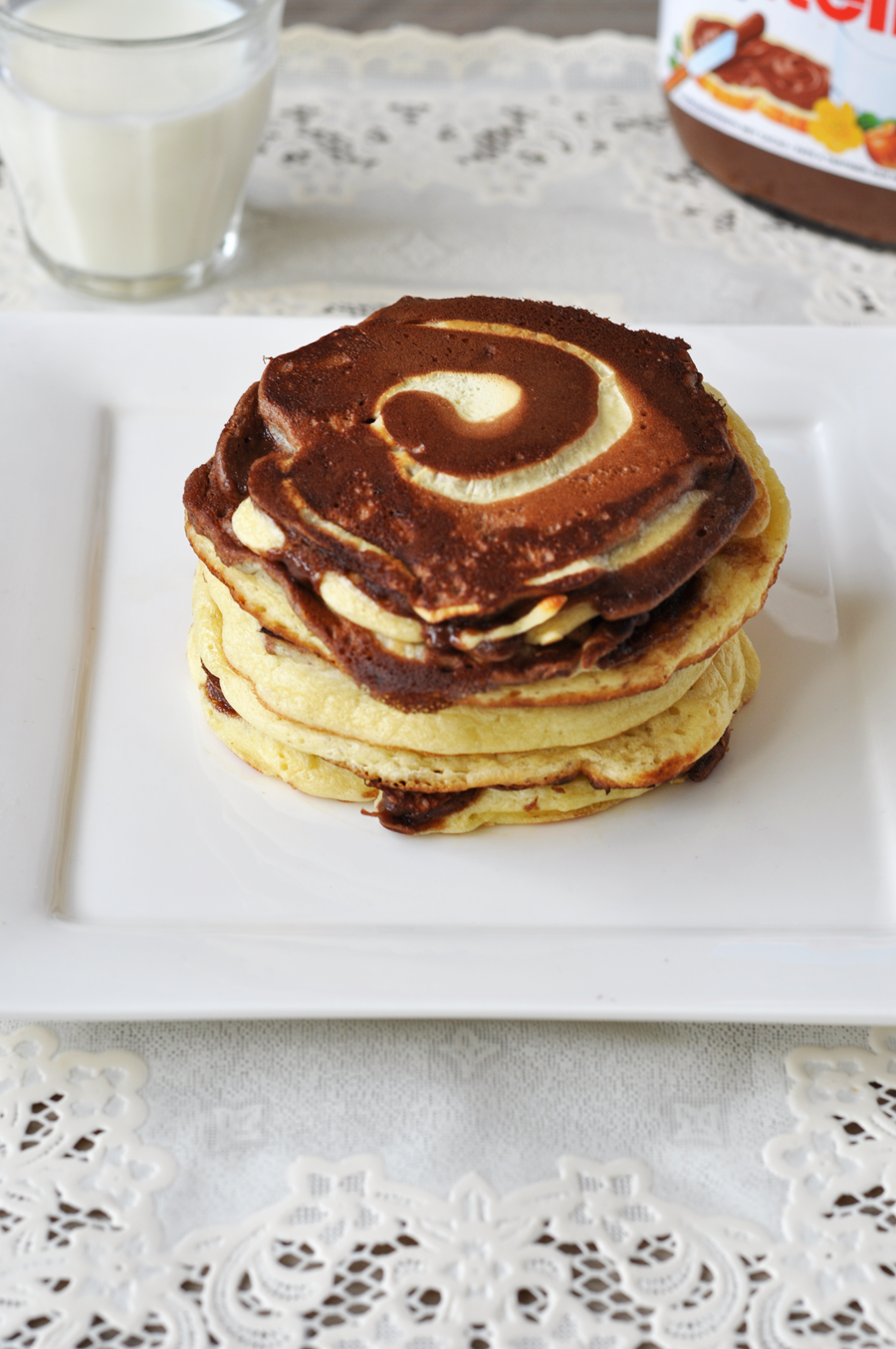 Fluffy Nutella swirl pancakes | APPLE 2 THE PIE