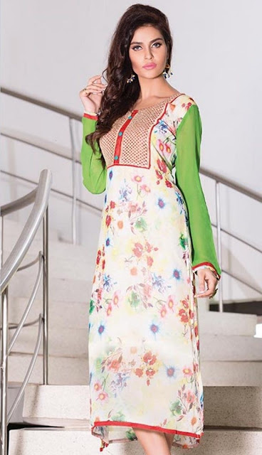 Off White Georgette Printed Party Wear Kurti