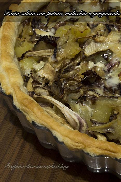 torta salata con patate, radicchio e gorgonzola