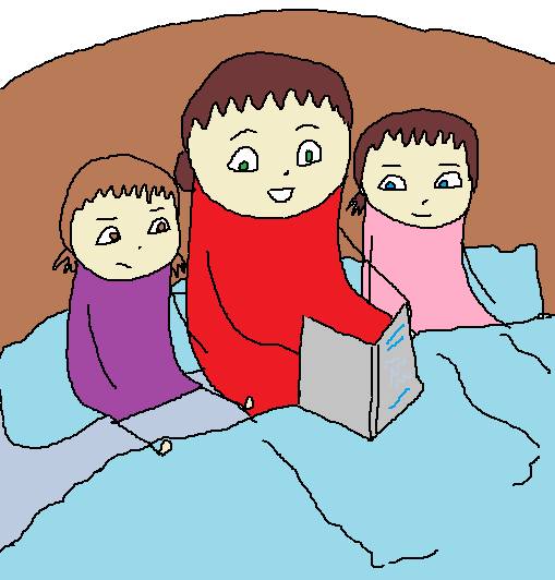 Me, my mom and my sister sitting on a bed.  My mom now looks happy reading the story.  I look unconvinced.