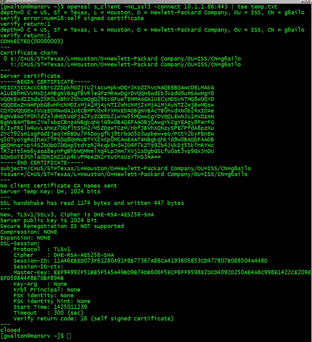 Framer99 investigatingfixing hp ilo2 java remote console fails openssl sclient connect to ilo2 web server xflitez Choice Image