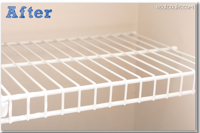 Fantastic and easy DIY Cleaning solution for how to clean wire shelves. #Cleaning #DIY #tips #RealCoake