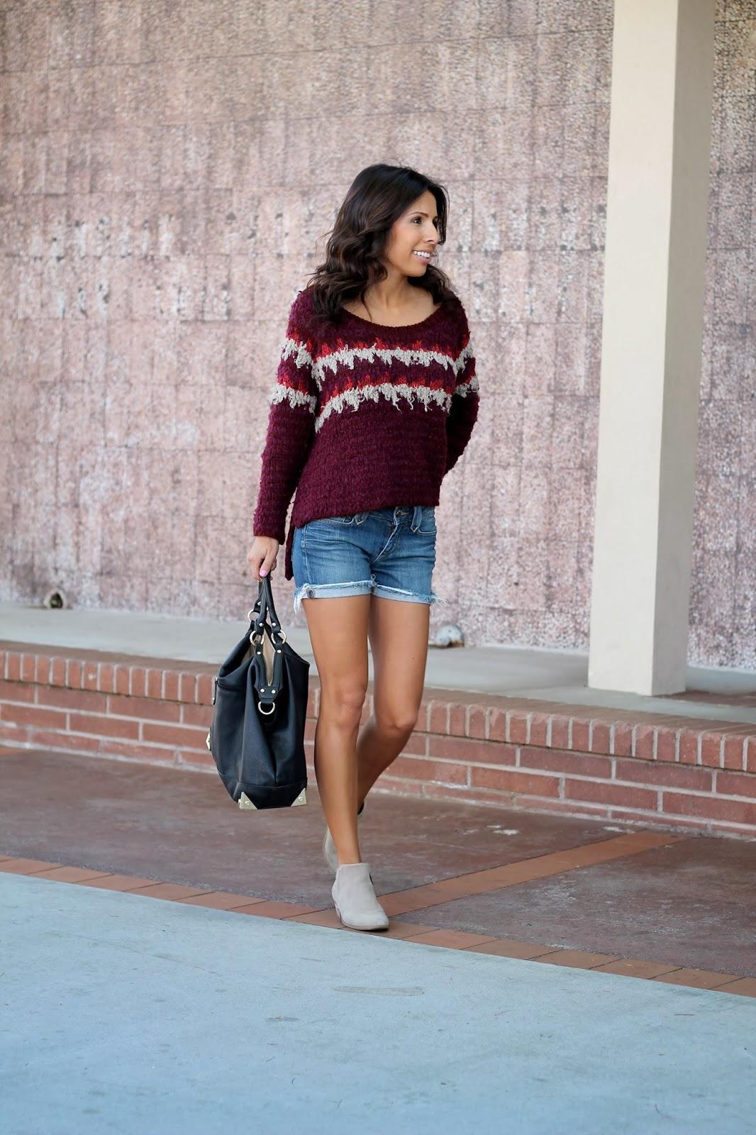 fair isle sweater cut off shorts