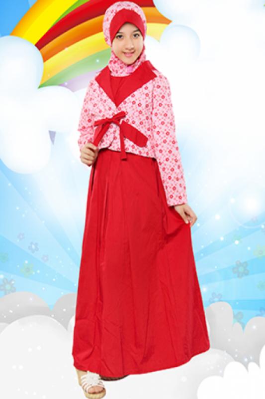 Gamis anak perempuan warna merah model terbaru
