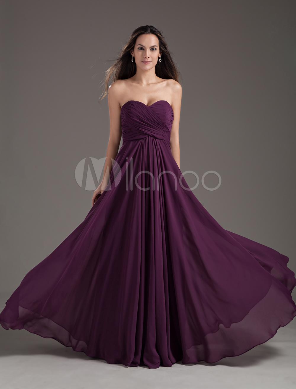Robes sexy - Robe demoiselle d'honneur A-ligne en chiffon pourpre croisé lacets de dentelle