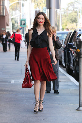Emmy Rossum Red skirt candids in Beverly Hills- 12 Pics