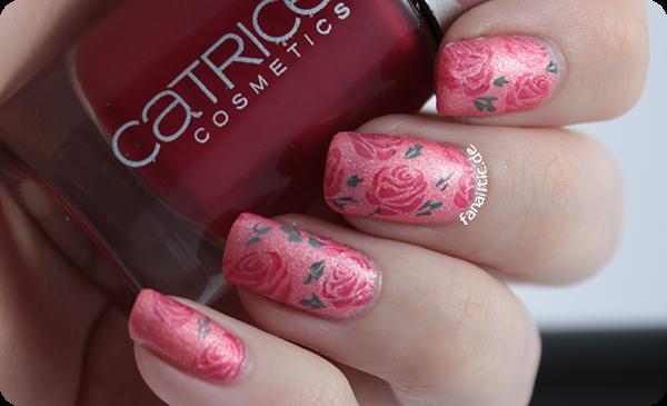 """sally hansen """"chic pink"""" + kiko 343 + catrice """"rosebuddy"""" + moyou london mother nature 11 rose stamping"""