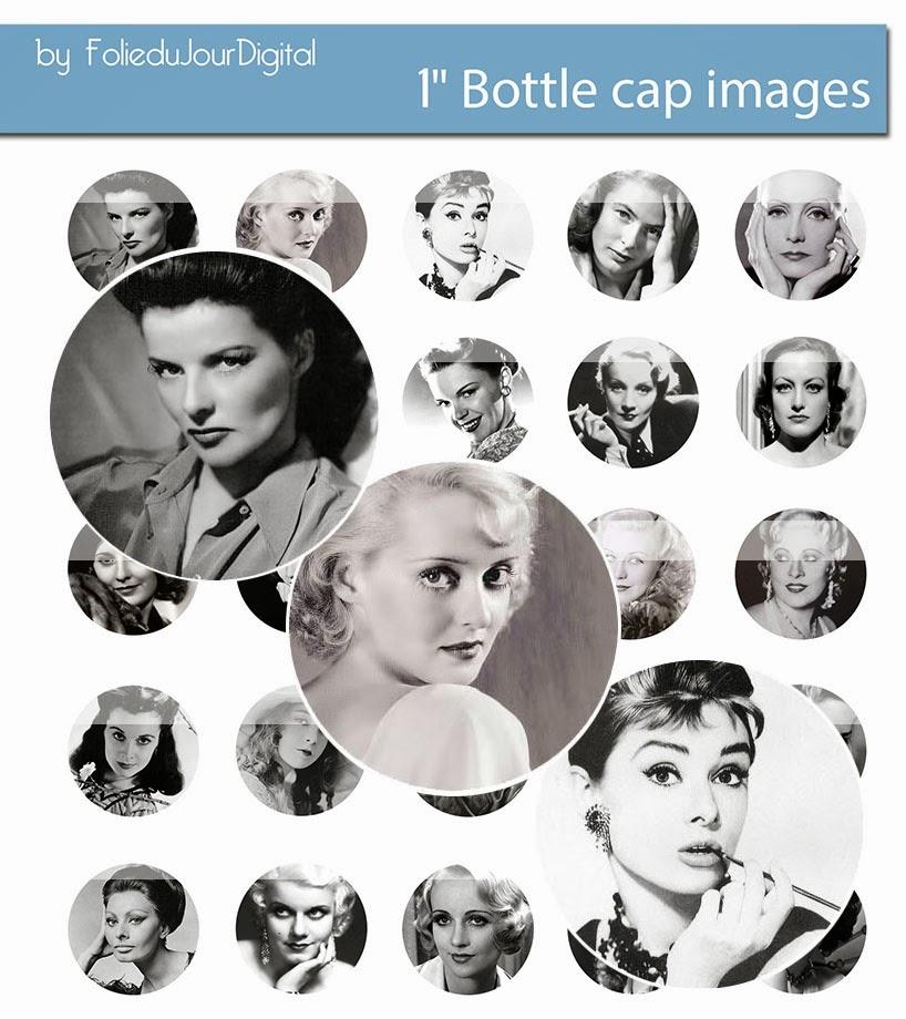 Vintage actress free digital bottle cap images