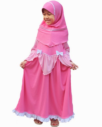 Set Gamis anak Aurora Pink