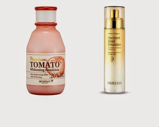 Skin Food Tomato Line Emulsion & Tony Moly Snail Emulsion