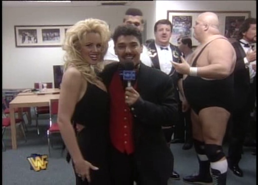 WWF / WWE: Wrestlemania 11 - Jenny McCartney and NYPD Blue's Nicholas Turturro backstage with The Million Dollar Corporation