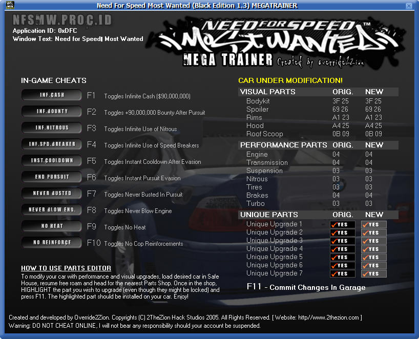NFS Most Wanted BE 1.3 Trainer