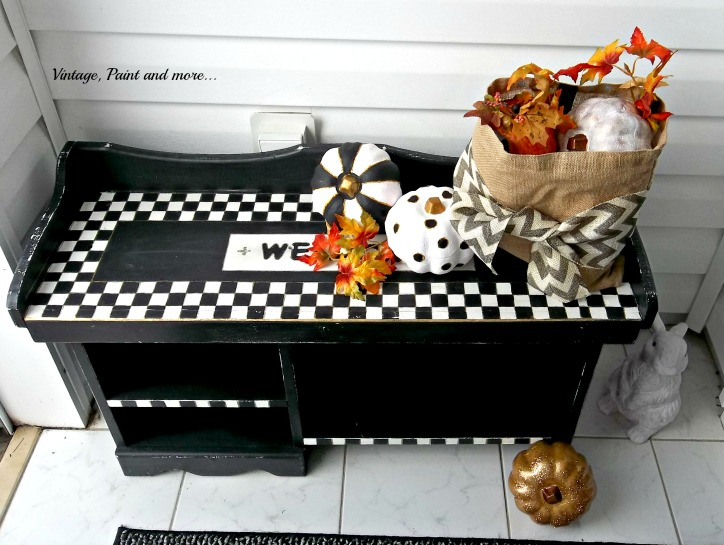 Vintage, Paint and more... vintage fall entry with black and white geometric design