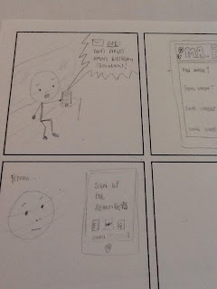 My first attempt at a UX cartoon - a few badly drawn frames