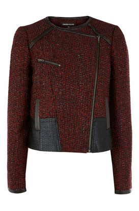 warehouse color block tweed biker coat
