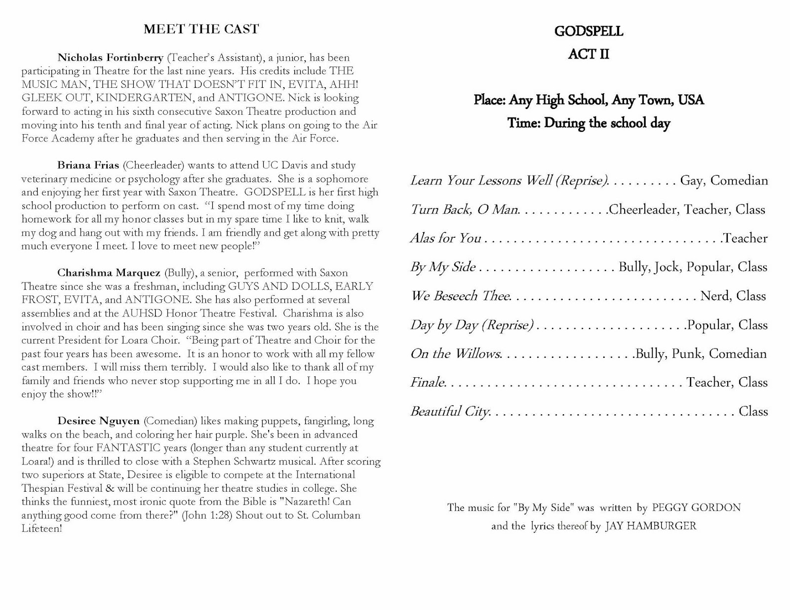 GODSPELL+program Page 6 Top Result 70 Inspirational Class Reunion Program Template