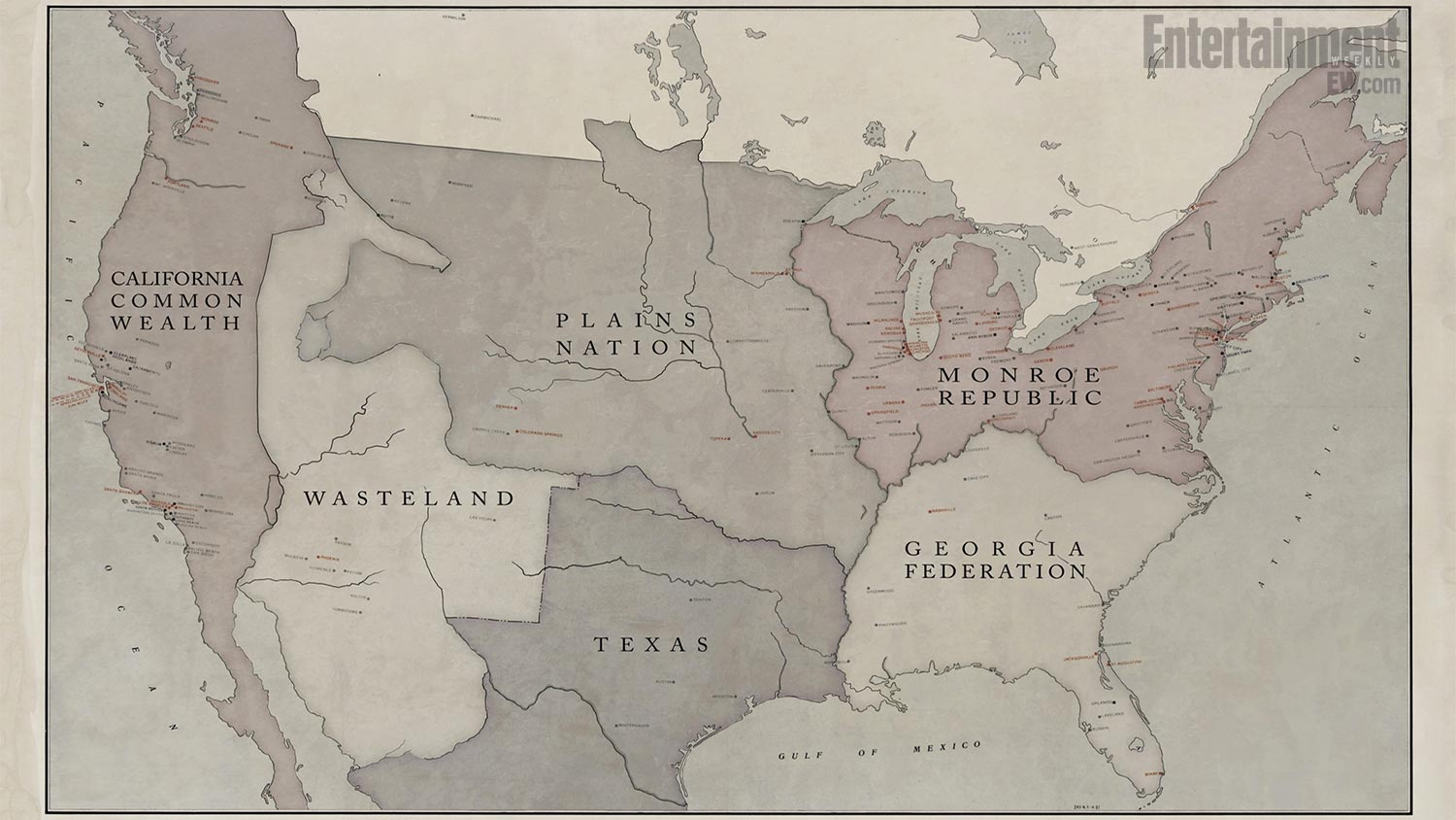 Here Is A Rather Fun Map From Nbc S Revolution Showing The Territories Of The Various Regional Governments 15 Years After The Blackout Enjoy