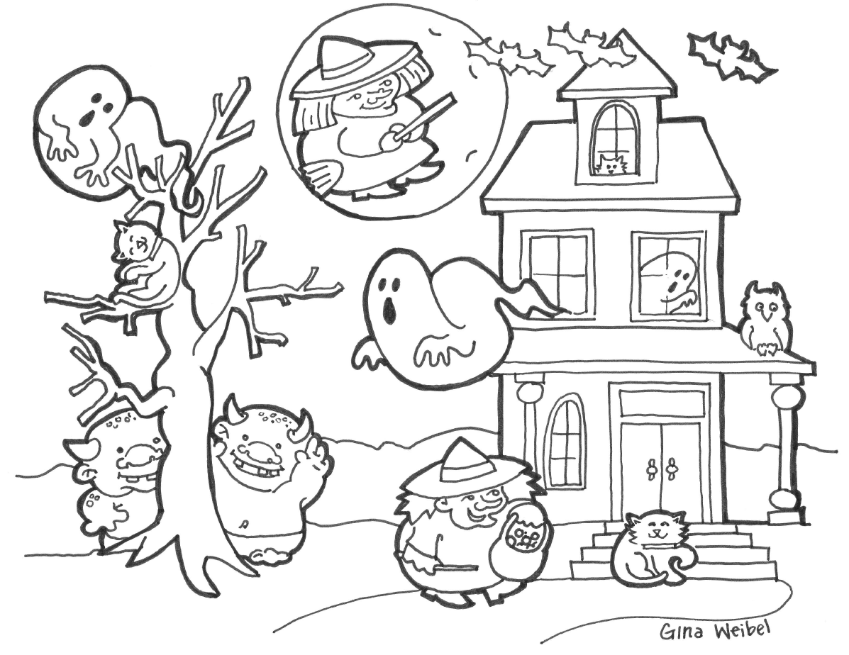 halloween black coloring pages - photo#17