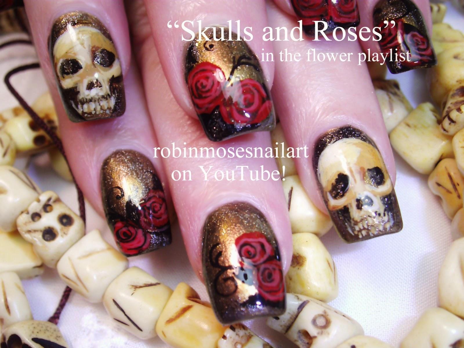 Robin moses nail art skull nails halloween nails red rose nail art tutorials halloween nails diy easy halloween for beginners and up halloween nail art designs tutorial prinsesfo Gallery