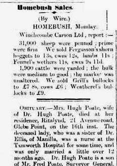 Extract from Moree and Gwydir Examiner and General Advertiser with Obituary for Mrs Hugh Poate saying Beatrice was sister of Dr Ellis of Manilla and a nurse at Tamworth Hospital for some time.  Also that Hugh was son of Fred Poate, Surveyor General