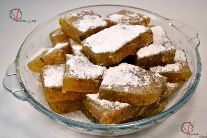 Delicias turcas o lokum de mandarina y pistacho.