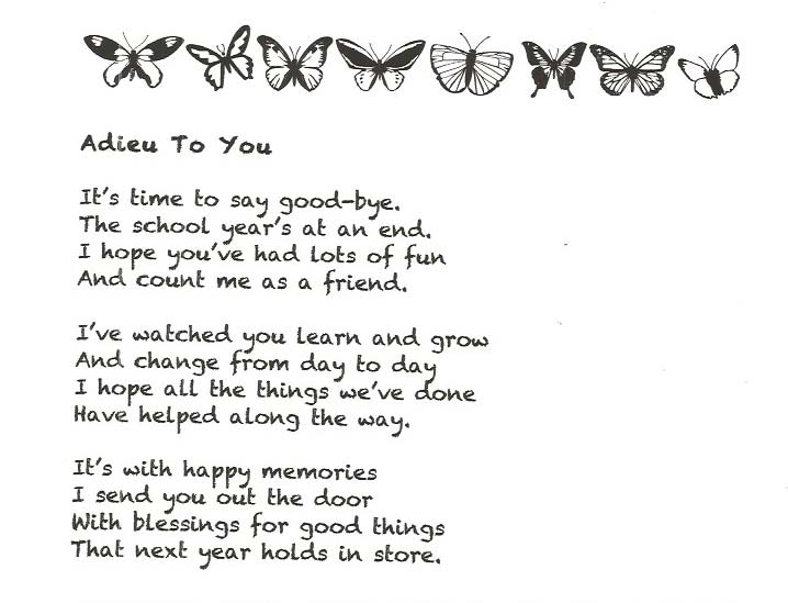 Classroom Freebies: End of the Year Good-Bye Poem