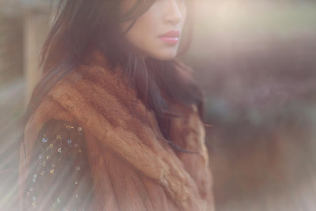 Posing in vintage fur vest, iulia agnew photography, vintage fur vest, sequin dress, vintage style, eco fashion
