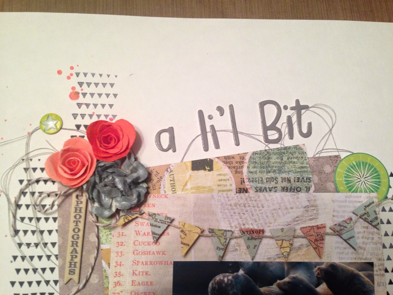A Li'l Bit Feisty:  A scrapbook layout by Alice Scraps Wonderland | A banner atop the photo in a fun map print lends to the travel theme of the page.