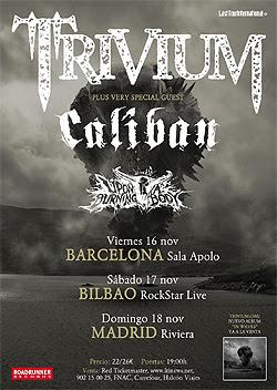 Conciertos de Trivium en Madrid, Barcelona y Bilbao en Noviembre