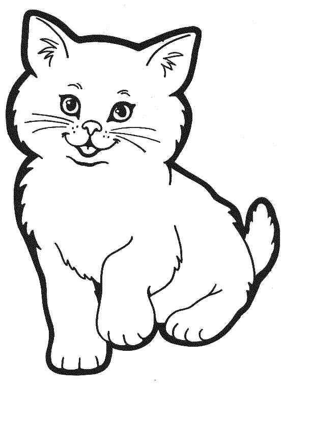 Кошки с котятами раскраска