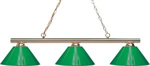 Z-Lite 155-3PB-PGR Sharp Shooter 3 Light Billiard Table Fixture Polished Brass Green Shades