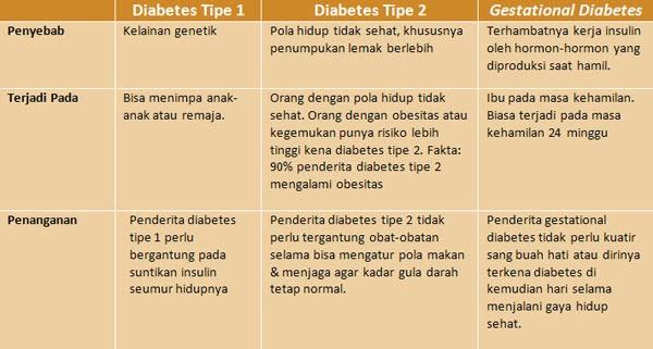penyebab Diabetes Tipe 1, Diabetes Tipe 2 Dan Gestational diabetes