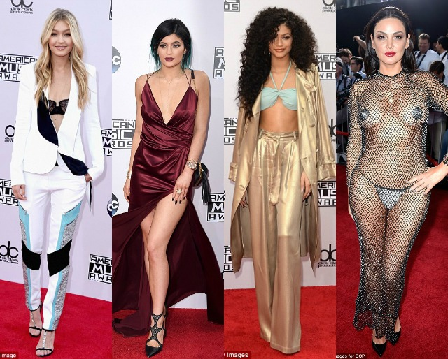 Gigi Hadid, Kylie Jenner, Zendaya, Bleona, worst dressed, ama, american music awards, body stocking, gold suit, red silk dress,