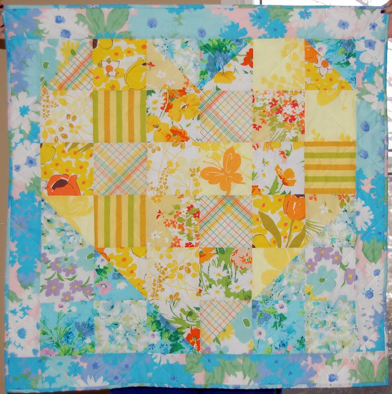 Craftytammie vintage sheet baby quilt tutorial