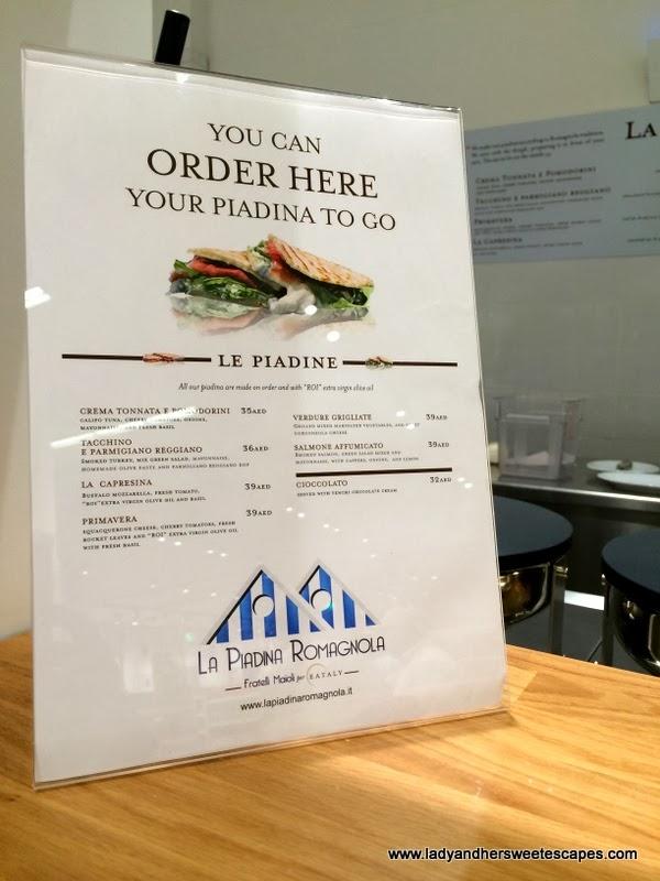 La Piadina Romagnola's menu