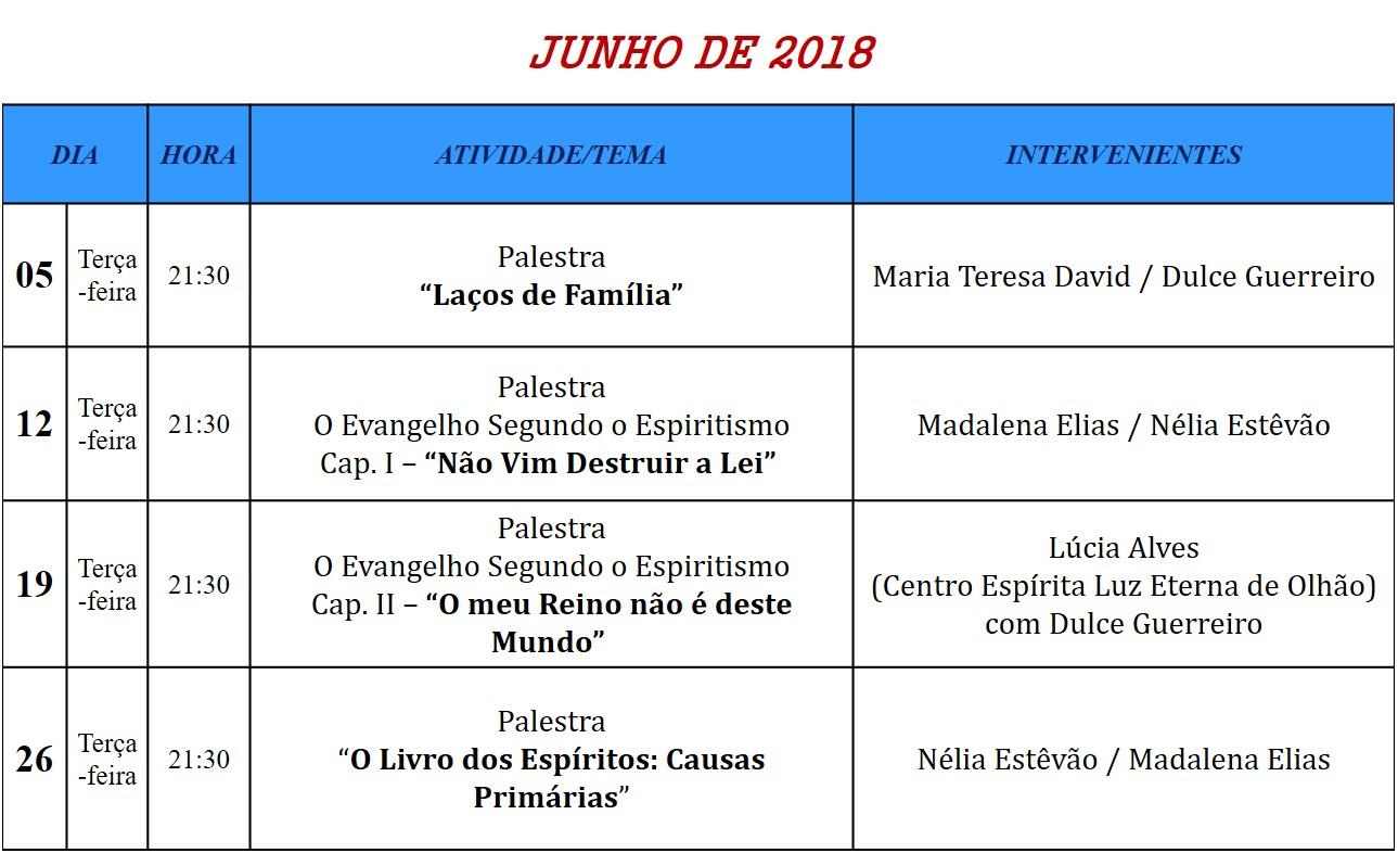 Paletras Públicas para o mês de junho de 2018, na Associação Cultural Espírita Helil