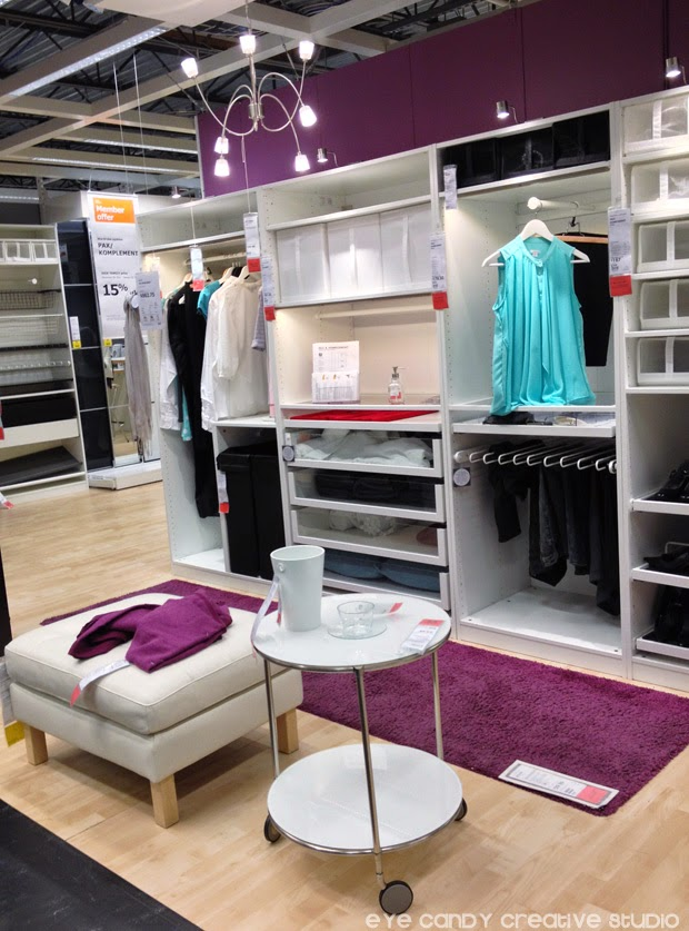 closet space, organizational ideas from IKEA, IKEA shopping, stool, white table, purple runner rug, closet solutions