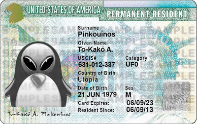 A sample 'green card' for an alien penguin