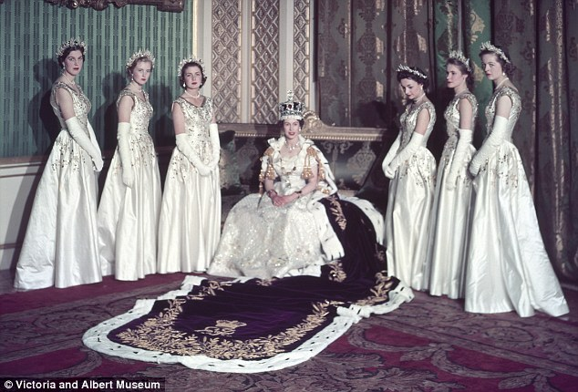 The maids of honor, L to R Lady Moyra Hamilton, Lady Anne Coke, Lady Jane  Vane,Tempest,Stewart, Lady Mary Baillie,Hamilton,