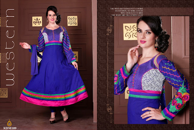 Buy Ready Made Cotton Embroidered Neck Anarkali Suit