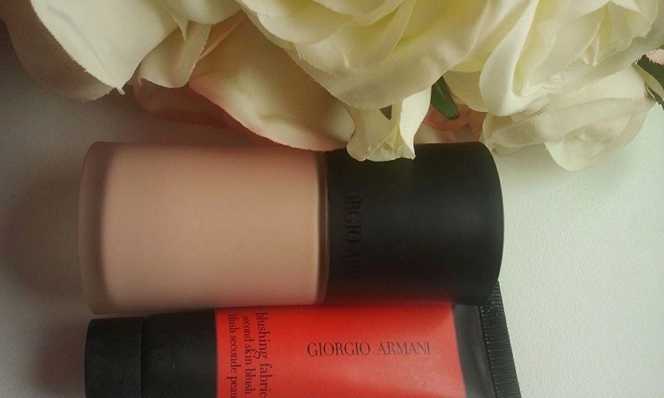 Blushing-Fabric-Second-Skin-Blush-and-Luminous-Silk-Foundation-with-roses-on-my-table
