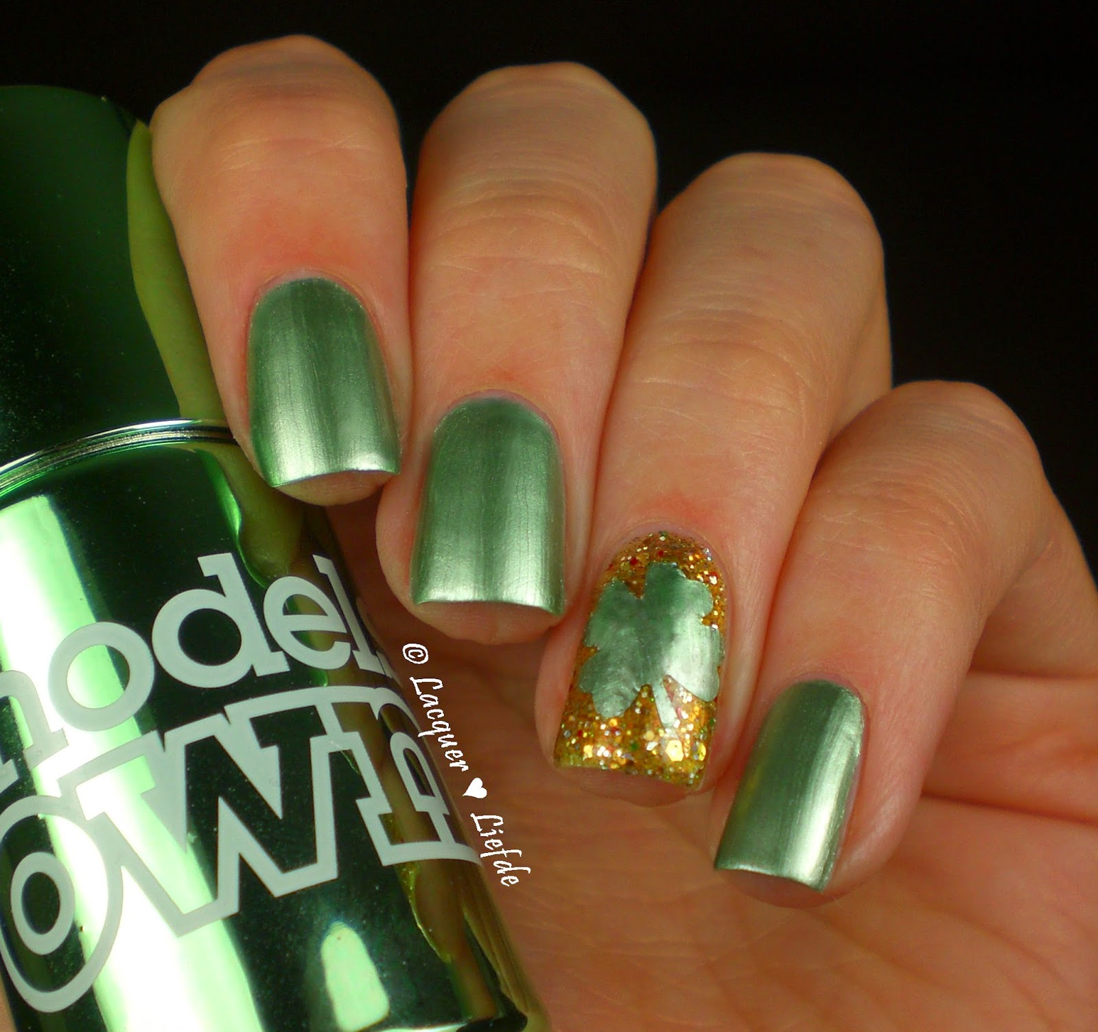 Models Own Colour Chrome Green St. Patricks Day naildesign
