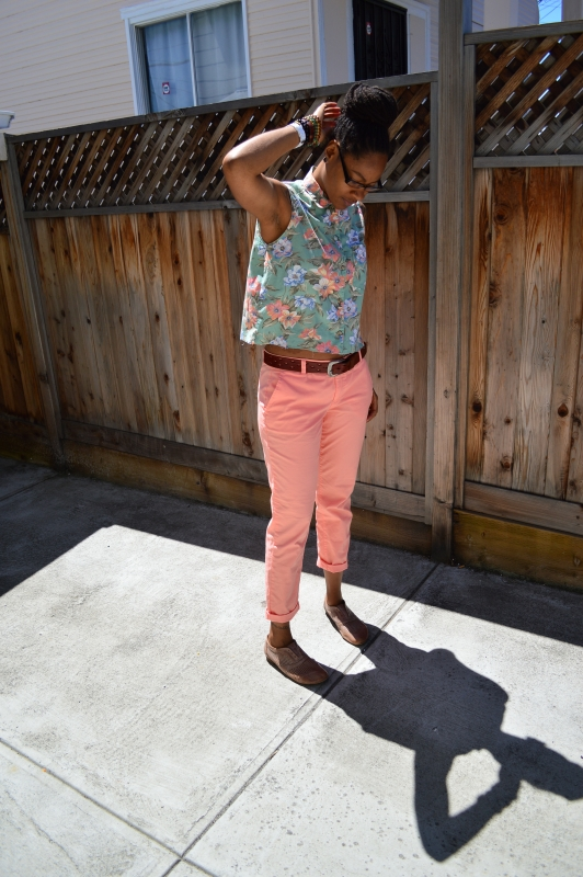 diy cropped top, colored khakis, whoisthatgirlmo