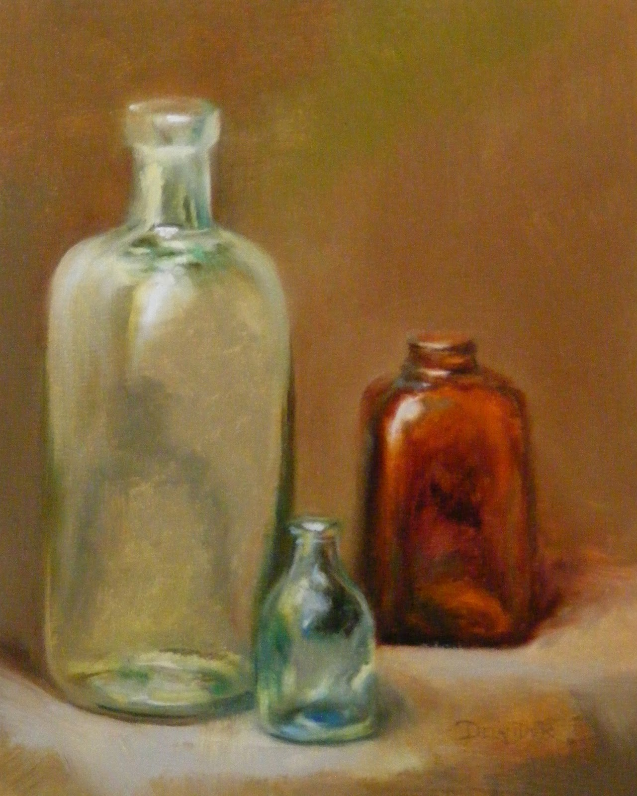 Glass bottles still life oil painting for How to paint glass with oil paint